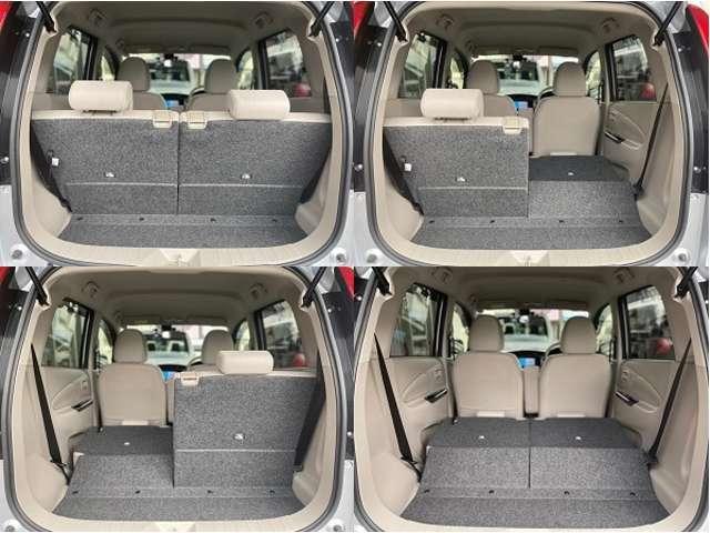 リヤシートは左右独立式で折りたたむことができるので、荷物に合わせて多彩なシートアレンジが可能です。