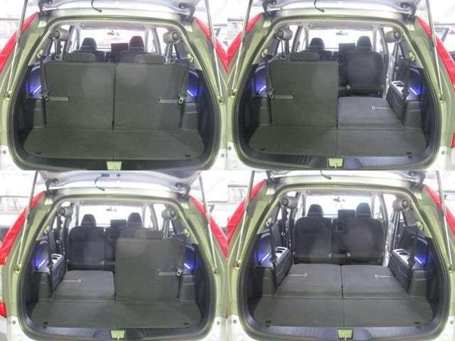 ここからはリアシートアレンジをご覧下さい。シートは左右別々に操作できます♪乗員数・荷物量にあわせてアレンジができます★