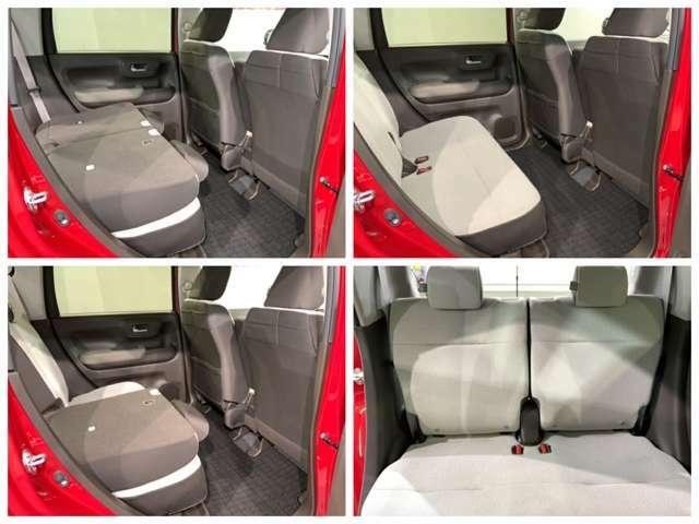 二列目シートは前後にスライドさせて足元空間&トランクルームを自在に変更!シートの下に傘や鞄を置いておくスペースも大変便利です。