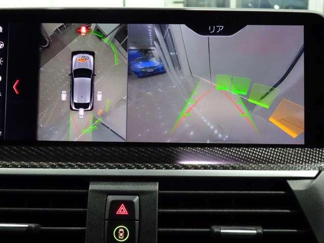 リヤビューカメラはガイドライン付きハンドル操作に連動して進行方向を示してくれます。