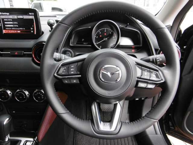 しっとりと手に馴染む本革巻ステアリング。ハンドル左側はオーディオリモコンスイッチ、右側はレーダークルーズコントロール(全車速追従機能付・停車保持機能無)設定スイッチ。