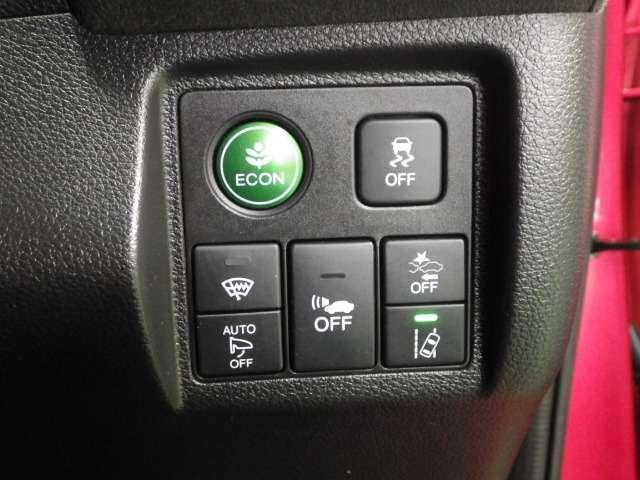 【インパネスイッチ類】燃費向上に貢献するエコモード操作スイッチ、横滑り防止、フロントガラスの曇り除去熱戦、路外逸脱抑制機能、追突軽減ブレーキ、EVモード走行時の車両接近通報の各作動ON・OFFスイッチです