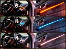☆アンビエントライト☆インパネ回りや運転席、助手席のドアパネル、さらには後部座席のドアパネルも光ります♪3色から選択できますので、季節や気分で変えるのも楽しいですね☆