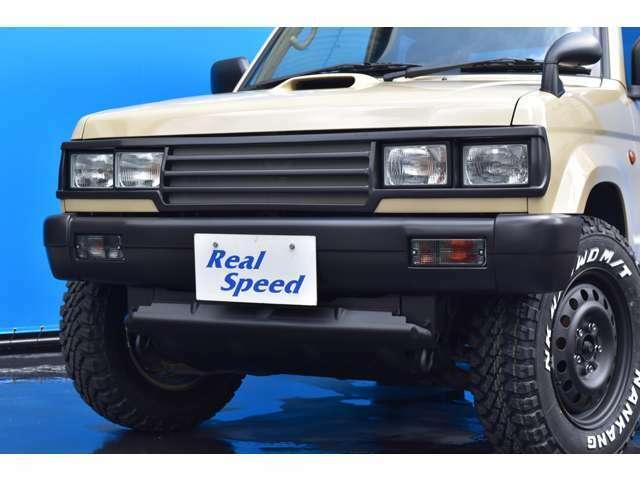REALSPEED角目4灯フロントグリルにフロントバンパーも装着で、フロントビューが一新です!!当店オリジナルエアロなので他車との違いをアピール出来ますよ!ボディーも綺麗でオススメですよ!