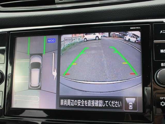 アラウンドビューモニター バックモニターはもちろん、上から見下ろしたようなモニターで駐車の手助けをします。便利ですよ♪