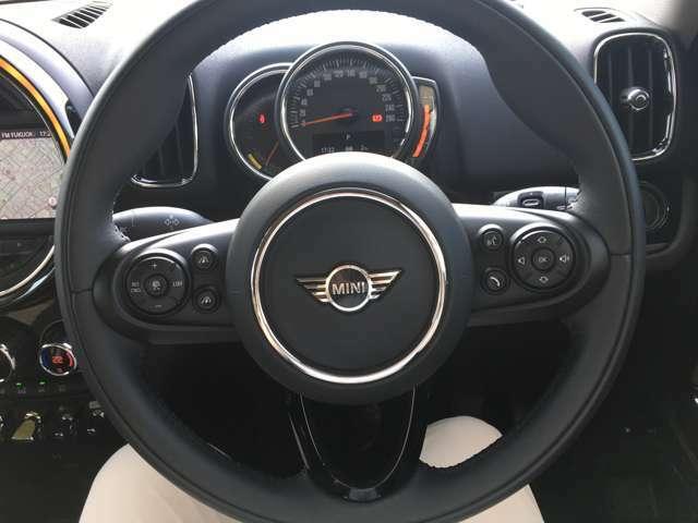 左側に前方車両に合わせた自動速度調節が可能なアクティブクルーズコントロール、右側にオーディオ関連の操作が可能な「マルチファンクションステアリング」装備。