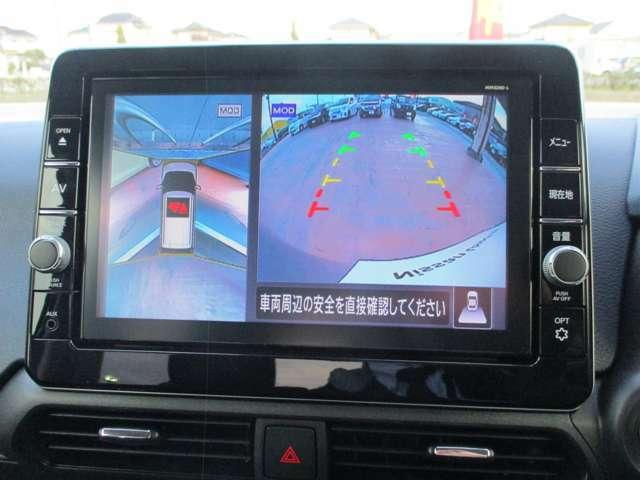 アラウンドビューモニターです。上空からお車の廻り見る感覚で表示されますので、車庫入れも簡単!