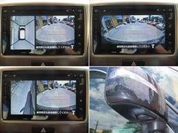 車の前後左右4カ所にカメラを設置しクルマを真上から見たような映像を大型モニターに映し出し前後の間隔がつかみにくい縦列駐車や左右の見通しが悪い場所からの発進時など運転席からは見えにくい視界を補います。