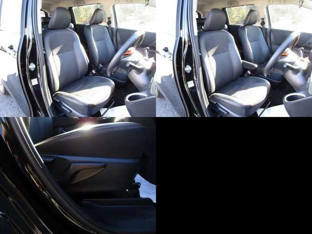 フロントシート 運転席はセンターアームレスト付で、シートリフター(シート上下調整)機能が付いています。 クエロ仕様で、オレンジステッチ入合成皮革&ファブリックのコンビシートで、シート類も問題無し