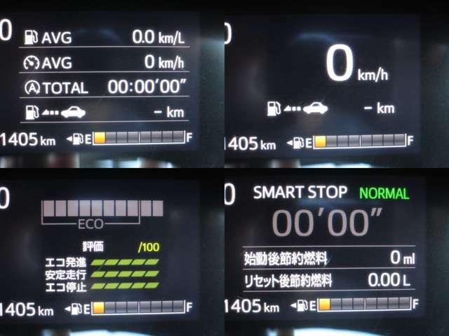 マルチインフォメーションディスプレイに燃費・アイドリングストップ・航続可能距離等色々な情報を表示します。