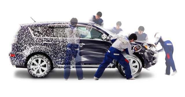 Bプラン画像:セット内容:1・手洗い洗車2・水垢・鉄粉取り3・全面軽研磨4・フッ素ガラスコーティング(フロントのみ)5・エンジンルーム洗浄6・ヘッドライトレンズ研磨(左右)