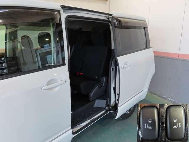 電動スライドドア付き!お子様にも安心なセーフティー機構(挟まれ防止)により安全性を確保、狭い場所での乗り降りにもしやすく、さらに、運転席からのボタン操作、リモコンキーによる車外からの開閉操作が可能!