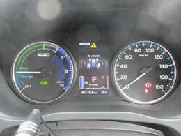 モーターとエンジンの状況を一目で確認できるパワーメーター。