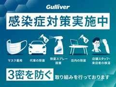 マスク着用・車両及び店内の除菌、換気、除菌スプレーの設置、商談テーブルの制限等、3密を防ぐ取り組みを行っております。