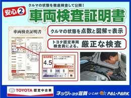 ネッツトヨタのT-ValueのU-Carには、トヨタ自動車認定の検査員が一台一台の車を厳正に検査しその状態を点数と図解で表示した検査証明書を全車種にお付けしております!安心の中古車選びはぜひネッツで!