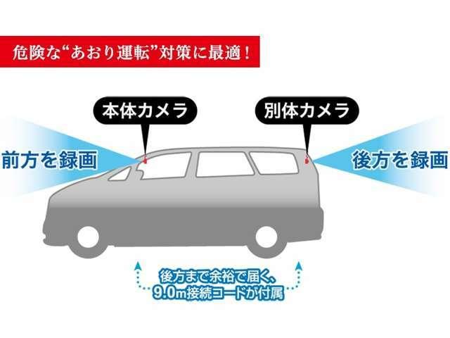 Aプラン画像:あおり運転対策で役立つ2台のカメラで前方・後方を同時に録画致します♪
