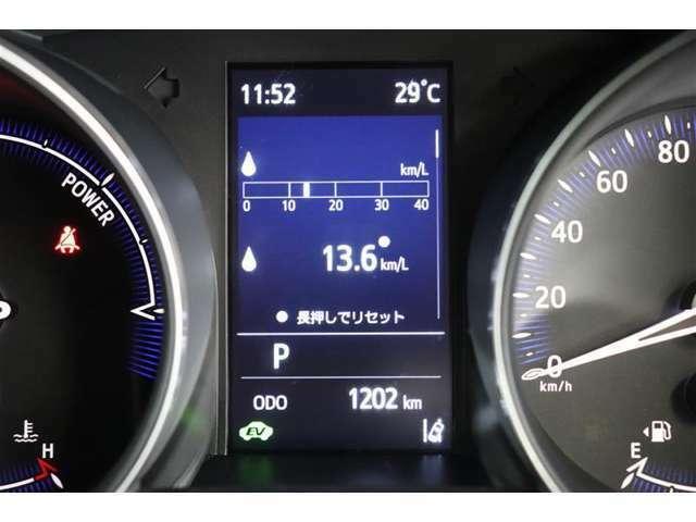 ODOメーターです。色々な情報が表示されています。気になる燃費などもわかりやすく表示されていますよ。