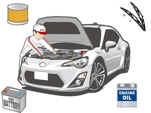 Aプラン画像:エンジンオイル交換,エレメント交換,バッテリー交換 ワイパー交換/ 装備内容備考:エンジンオイル・エレメント・バッテリーワイパーを新品に交換させていただき、より一層安心してお乗りいただけるプランです。