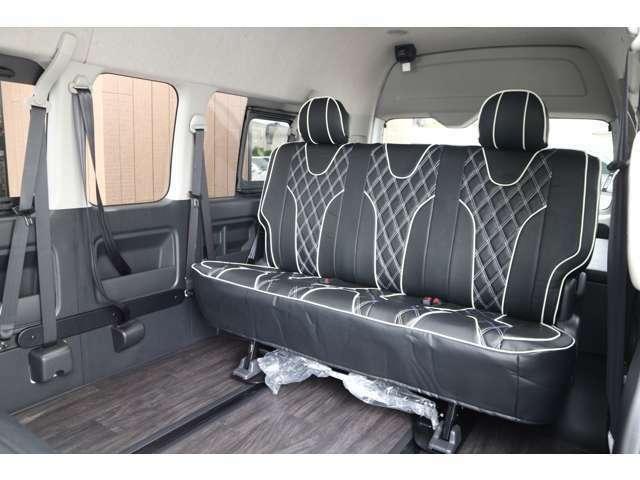 3列目S-GL純正シート!IFUU欧州車デザインシートカバー!ステッチカラー選べます!ロングスライドレール!車輌持ち込みにて内装施工出来ます!
