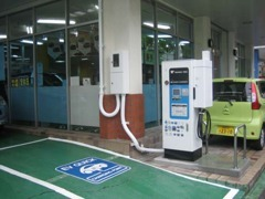 電気自動車 急速充電器設置あり。