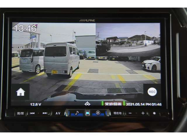 Aプラン画像:フロント/リアの2カメラ装備。アルパインカーナビと連携することで、ナビ画面で録画の確認が行えるほか各種設定の操作が可能。駐車中を録画で監視。動くものや衝撃を録画します。